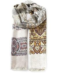 Bufanda con print de flores en beige de Pierre Louis Mascia