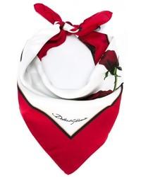 Bufanda con print de flores en blanco y rojo de Dolce & Gabbana