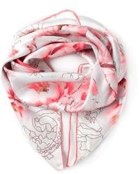 Bufanda con print de flores en blanco y rojo de Elie Saab