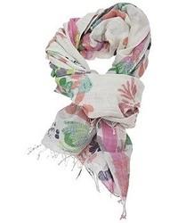 Bufanda con print de flores en blanco y rosa de Epice