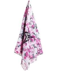 Bufanda con print de flores en blanco y rosa de Givenchy