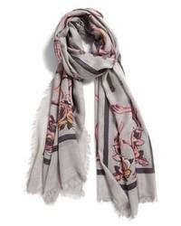 Bufanda con print de flores gris