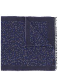 Bufanda de algodón de leopardo azul marino de Paul Smith