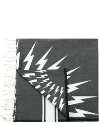 Bufanda de algodón estampada en gris oscuro de Neil Barrett