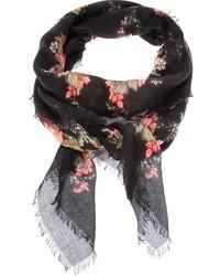 Bufanda de Flores Negra de Alexander McQueen