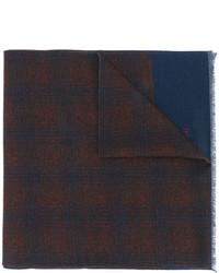 Bufanda de lana a cuadros azul marino de Corneliani