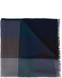 Bufanda de lana a cuadros azul marino de Paul Smith