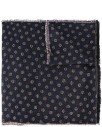 Bufanda de lana a lunares azul marino de Lardini