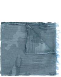 Bufanda de lana de camuflaje azul de Woolrich