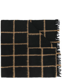 Bufanda de lana de tartán negra de Dondup