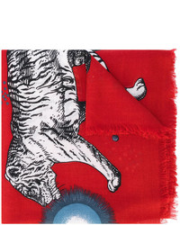 Bufanda de lana estampada roja de Gucci