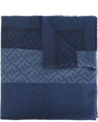 Bufanda de lana tejida azul marino de Fendi
