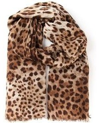 Bufanda de Leopardo Marrón de Dolce & Gabbana