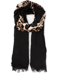 Bufanda de leopardo negra