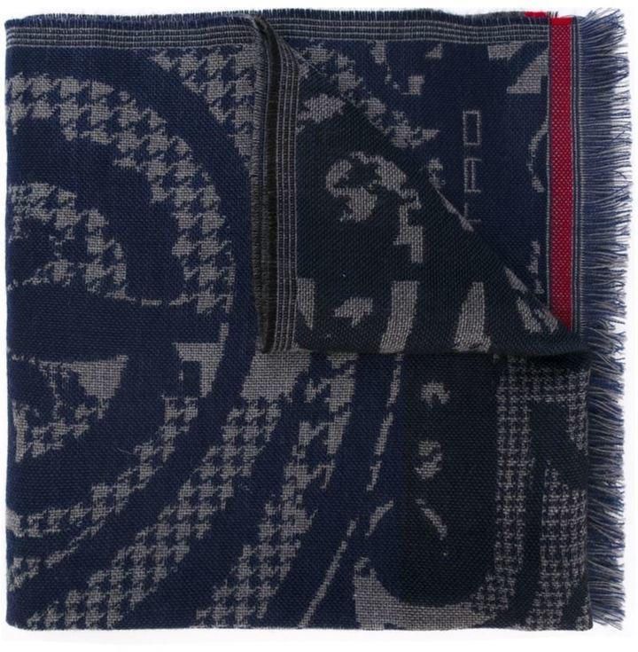 Bufanda de pata de gallo azul marino de Etro