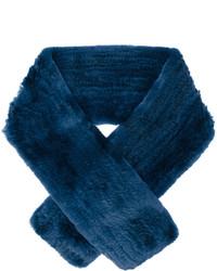 Bufanda de pelo azul marino de Yves Salomon