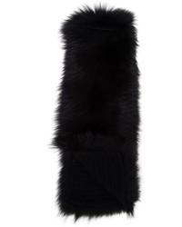 Bufanda de Pelo de Punto Negra de Inverni