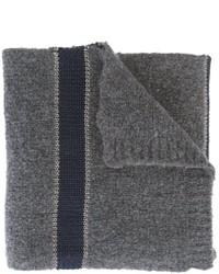Bufanda de rayas horizontales en gris oscuro de Brunello Cucinelli