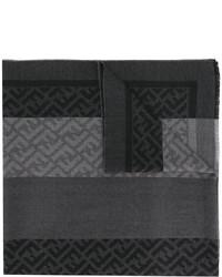 Bufanda de rayas horizontales en gris oscuro de Fendi