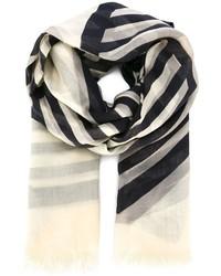 Bufanda de rayas horizontales en negro y blanco de Stella McCartney