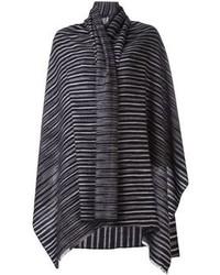 Bufanda de rayas verticales en gris oscuro