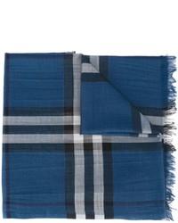 Bufanda de Seda a Cuadros Azul de Burberry