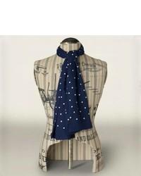 Bufanda de seda a lunares en azul marino y blanco