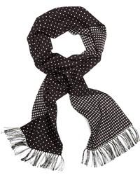 Bufanda de seda a lunares en negro y blanco