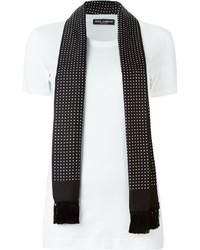 Bufanda de seda a lunares en negro y blanco de Dolce & Gabbana