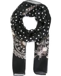 Bufanda de seda a lunares en negro y blanco de Givenchy