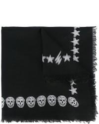 Bufanda de seda bordada negra de Alexander McQueen