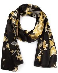 Bufanda de seda con print de flores negra de Roberto Cavalli
