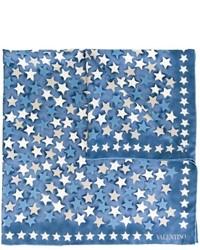 Bufanda de seda de estrellas azul de Valentino