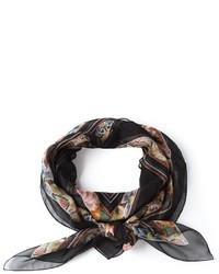 Bufanda de Seda de Flores Negra de Alexander McQueen