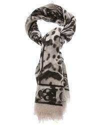 Bufanda de Seda de Leopardo Gris de Alexander McQueen