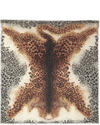 Bufanda de seda de leopardo marrón claro
