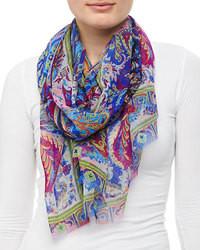 Bufanda de seda de paisley azul