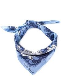 Bufanda de seda de paisley azul de Elie Saab