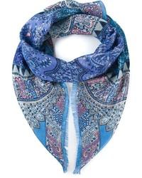 Bufanda de seda de paisley azul de Etro