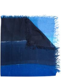 Bufanda de seda de rayas horizontales azul marino de Faliero Sarti
