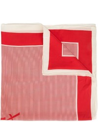Bufanda de Seda de Rayas Horizontales Roja de Saint Laurent