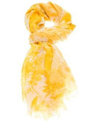 Bufanda de seda estampada amarilla