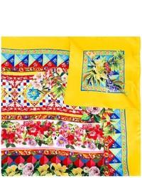 Bufanda de seda estampada amarilla de Dolce & Gabbana