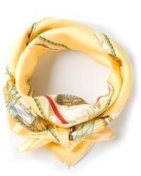 Bufanda de seda estampada amarilla de Hermes