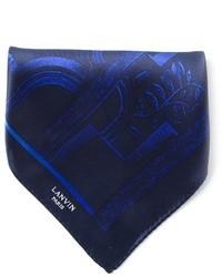 Bufanda de Seda Estampada Azul Marino de Lanvin