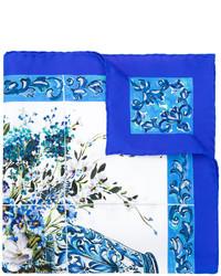Bufanda de seda estampada azul de Dolce & Gabbana