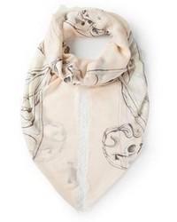 Bufanda de Seda Estampada Beige de Alexander McQueen
