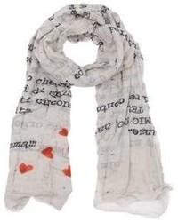 Bufanda de seda estampada blanca de Faliero Sarti