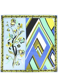 Bufanda de seda estampada celeste de Emilio Pucci