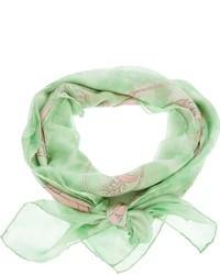Bufanda de seda estampada en verde menta de Salvatore Ferragamo